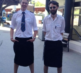 Shorts banned? Men choose skirts instead