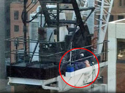 Crane driver takes napping to new heights